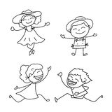 Hand drawing cartoon happy people Royalty Free Stock Photography