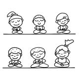 Hand drawing cartoon happy people mediation Royalty Free Stock Photo