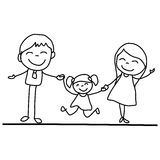Hand drawing cartoon happy young family Royalty Free Stock Photo