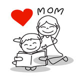 Hand drawing cartoon love mom. Happy mother's day Royalty Free Stock Photo