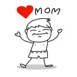 Hand drawing cartoon love mom Stock Images