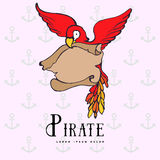 Hand drawing cartoon pirate parrot with treasure Royalty Free Stock Photos