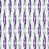 Hand drawing cartoonish bright character, mad scientist seamless. Pattern, sketch style, funny chemist with gray hair, big round glasses, in white coat Stock Images