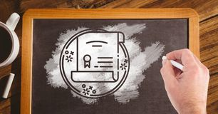 Hand drawing certificate on blackboard Royalty Free Stock Photography