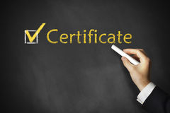 Hand drawing certificate on a chalk board stock photography