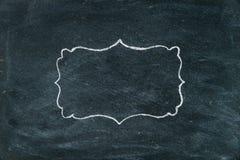 Hand drawing chalk frame on blackboard Stock Image