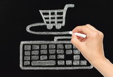 Hand drawing with chalk keyboard connected to cart Royalty Free Stock Images