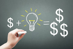 Hand drawing with chalk money plus idea concept Royalty Free Stock Photography