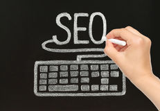 Hand drawing chalk SEO concept with keyboard Royalty Free Stock Photo