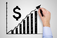 Hand drawing chart and dollar Royalty Free Stock Photo