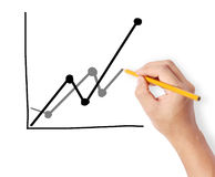 Hand drawing chart show Stock Photography