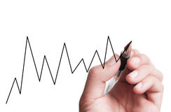 Hand Drawing A Chart Stock Photography