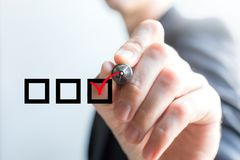 Hand drawing check box. On white background Stock Images