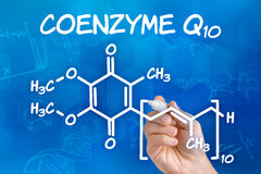 Hand drawing the chemical formula of coenzyme Q10. Hand with pen drawing the chemical formula of coenzyme Q10 stock illustration