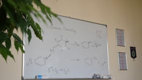 Hand-drawing chemical formulas. Organic chemical formulas on a white chalkboard. Blackboard with chemical formulas Royalty Free Stock Photo