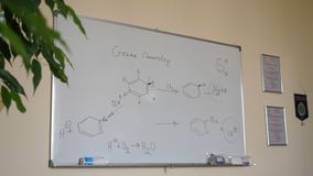 Hand-drawing chemical formulas. Organic chemical formulas on a white chalkboard. Blackboard with chemical formulas Royalty Free Stock Photography