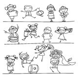 Hand drawing Chinese New Year cartoon character. Happy people Stock Images