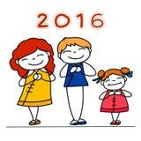 Hand drawing Chinese New Year cartoon character Stock Image