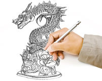 Hand drawing chinese style dragon statue line sket. Image for hand drawing dragon statue Stock Photos