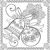 Hand drawing christmas bell, Christmas ball and snowflake for the anti stress coloring page. vector illustration