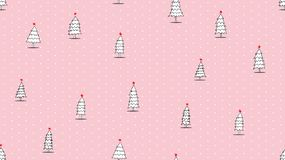 Hand drawing Christmas tree seamless pattern on pink background stock illustration