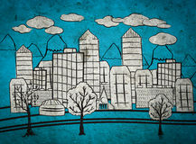 Hand drawing of the city royalty free stock photography