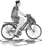 Hand drawing of a city dweller biking royalty free illustration