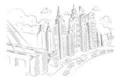 Hand drawing of city life Royalty Free Stock Photo