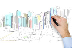 Hand drawing city Stock Photography