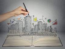Hand drawing city skyline business concept Royalty Free Stock Image