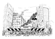 Hand Drawing of City Street Destroyed by Riot, Road Blocked by Danger No-Go Area Sign and Policemen. Pen and ink sketchy hand drawing of modern city street vector illustration
