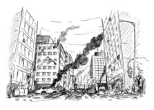 Hand Drawing of City Street Destroyed by War or Riot or Disaster. Pen and ink sketchy hand drawing of modern city street destroyed by war, riot or disaster vector illustration
