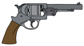 Classic american handgun. Hand drawing of a classic revolver Stock Photography