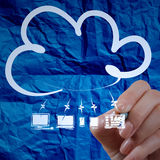 Hand drawing Cloud Computing diagram with crumpled paper backgr Royalty Free Stock Image