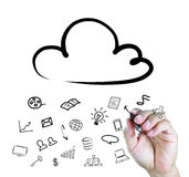 Hand drawing a Cloud Computing diagram Stock Image