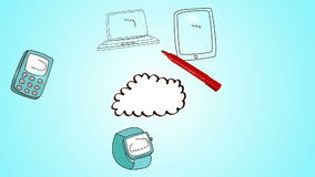 Hand drawing cloud with media devices. Digital animation of Hand drawing cloud with media devices stock video