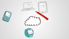 Hand drawing cloud with media devices. Digital animation of Hand drawing cloud with media devices stock video footage