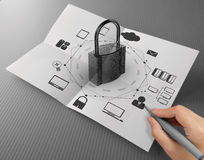 Hand drawing cloud network diagram with padlock. On crumpled paper as Internet security online business concept stock image