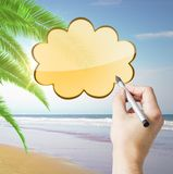 Hand drawing cloud. On sea background stock photography