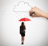 Hand drawing clouds with drops Royalty Free Stock Photography