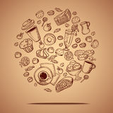 Hand drawing coffee circle Royalty Free Stock Image