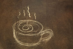Hand drawing of coffee cup on grungy blackboard Royalty Free Stock Photography
