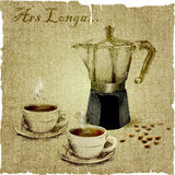 Hand drawing of coffee maker and two cups of coffee on the canvas.  illustration Stock Photos