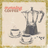 Hand drawing of coffee maker and two cups of coffee.  illustration Stock Photos