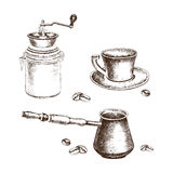 Hand-drawing coffee set with coffee beans royalty free illustration