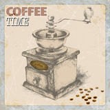 Hand drawing of coffee and vintage coffee grinder, grunge frame, monochrome.vector ilustration Stock Images