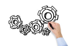 Hand drawing cogs Royalty Free Stock Image