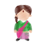 Hand drawing color woman character indian culture Stock Image