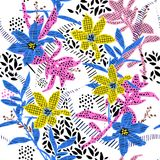 Hand drawing colorful florals in pattern from difference line fi. Ll on and polkadots garden mood stylish for fashion and all prints on white background seamless Stock Photography