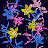 Hand drawing colorful florals in pattern from difference line fi. Ll on and polkadots garden mood stylish for fashion and all prints on navy blue background Stock Images